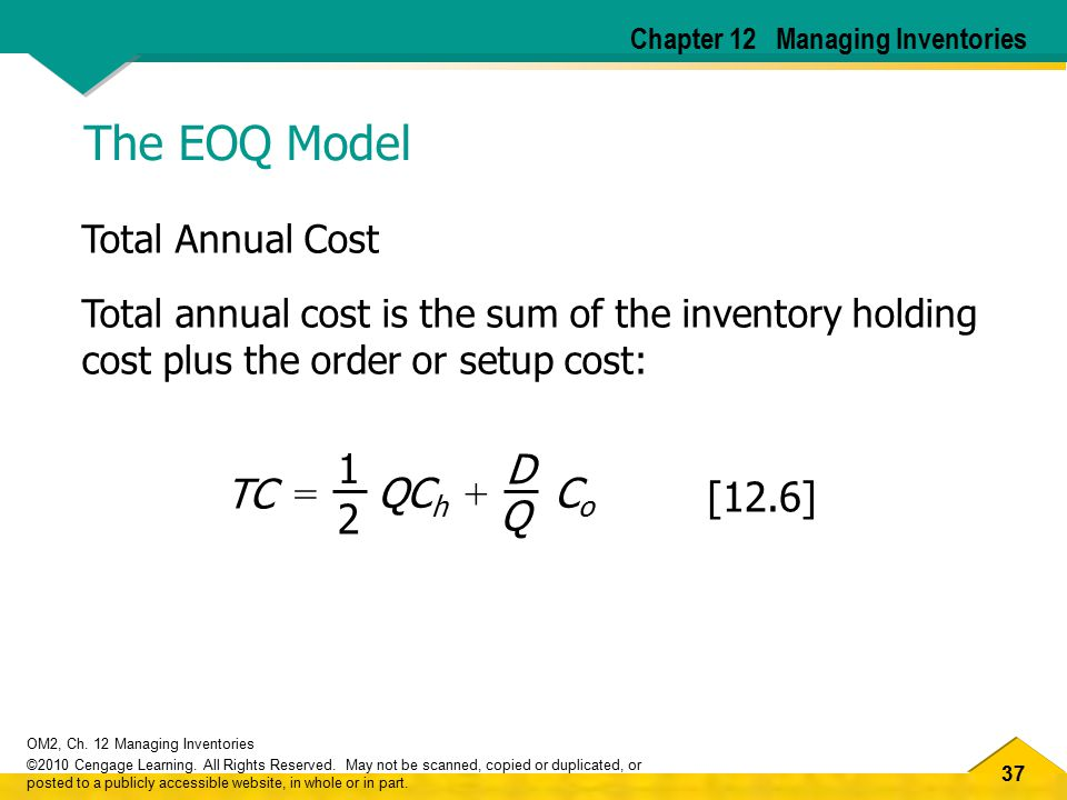 The EOQ Model TC 2 Q = QCh Co 1 + D [12.6] Total Annual Cost
